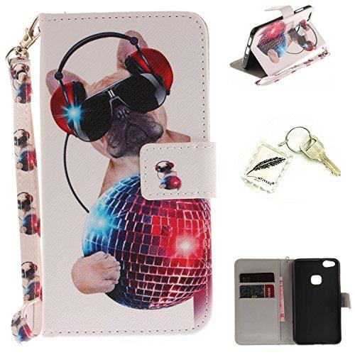 Preisvergleich Produktbild Silikonsoftshell PU Hülle für Huawei P10 Lite (5,2 Zoll) Tasche Schutz Hülle Case Cover Etui Strass Schutz schutzhülle Bumper Schale Silicone case+Exquisite key chain X1#KE (1)