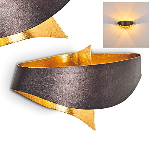 Wandleuchte Padua Braun & Goldfarben - Moderne Wandlampe Wohnzimmer - 2 x G9 28 Watt - stylischer Corpus - Designer Wand Lampe aus Metall - fantasievolles Design - Leselampe - Schlafzimmer Leuchte