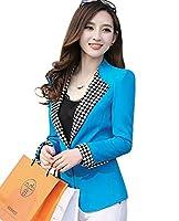 Aisuper Womens Fashion Causal Blazer Slim One Button Jacket Suit Outerwear Medium Blue