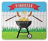 Tappetino per mouse per festa barbecue, utensili da cucina, arrostire salsiccia sopra il fuoco, tappetino rettangolare in gomma antiscivolo, multicolore, 25 x 30 cm