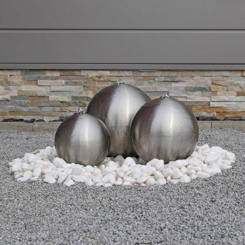Edelstahl Kugelbrunnen ESB2 matt gebürstet 3 Edelstahlkugeln inkl. LED Beleuchtung Außenbereich...