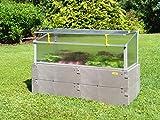 JUWEL Ganzjahres-Beetsystem Bio-Protect 130/60 (Frühbeet mit Wetter- & Insektenschutz, BPA frei, 126x58x40/30 cm) grau