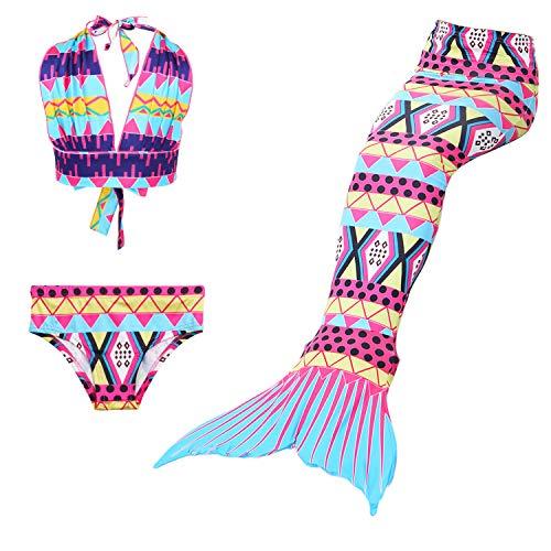 JoyChic Meerjungfrau Flosse zum Schwimmen Meerjungfrauen Bikini Set Badeanzüge Badenbkleidung Kostüm Meerjungfrauenflosse für Mädchen Kinder