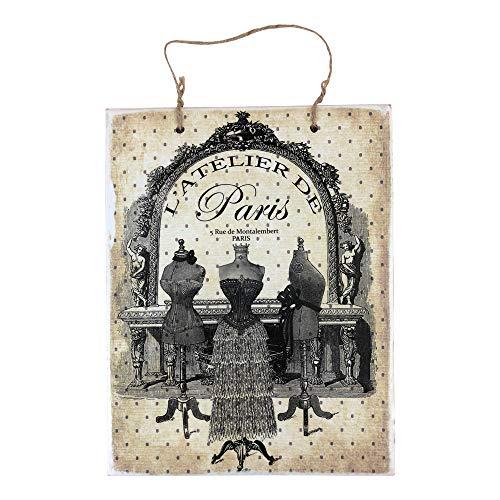 Vintage Holzschild, Vintage-Stil, Motiv: Paris Fashion Dress Form, rustikales Holzschild, Wanddekoration, Dekoration für Bauernhaus, Dekoration - 25,4 x 30,5 cm, holz, multi, 10x12 inch / 25x30 cm Fashion Dress Forms
