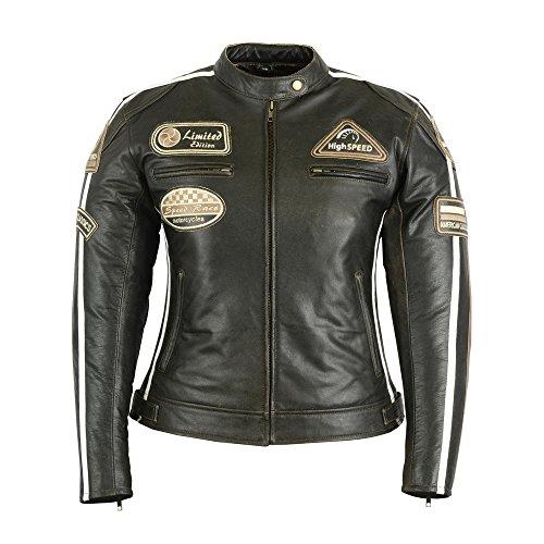 BOSMOTO Echt-Leder Motorradjacke Biker Jacke in Verschiedenen Farben, 44, Braun