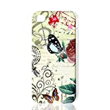 ZCHXD Flower Butterfly Music Note Hard Back Case Cover for iPhone 4 4G 4S 4GS 4th