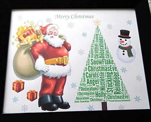 Personalizzato Santa & Albero Word Art, bambini 1, ragazzo, ragazza o regalo di Natale generale. Presentato in 8