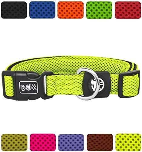 DDOXX Hundehalsband Air Mesh in vielen Farben & Größen für kleine & große Hunde   Halsband Hund Katze Welpe   Katzenhalsband klein   Hunde-Halsbänder breit Leuchtend   Gelb, S -
