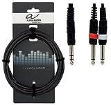Alpha Audio 190105 Basic Line Câble en Y 3 m 1 x 6,3 mm Jack Stéréo/2 x 6,3 mm Jack Mono Noir