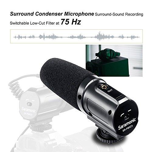Saramonico SR-PMIC3 Microfono a condensatore con registrazione surround Videocamera da 3,5 mm Microfono per Canon Nikon Pentax Olympus Panasonic Digitale SLR Fotocamera