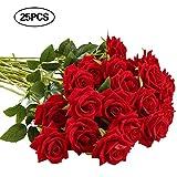 ZYCX123 25 pièces Rose Rose Fleur Fleurs artificielles Bricolage décoration de Mariage Fait à la Main et la Maison de Vacances Artificielle Parti Plante Rouge
