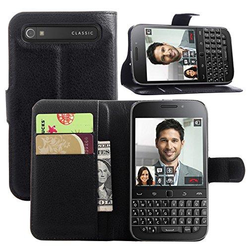 Original Ziaon(TM) Len Series 100% Faux Leather Flip Stand Wallet Case For Blackberry Classic Q20 - Mangnetic Lock- BLACK