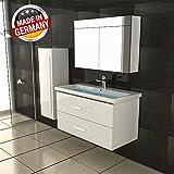 Gäste WC Waschtisch mit Lotuseffekt Waschbecken und Unterschrank Handwaschbecken Weiß Badmöbel Badezimmer