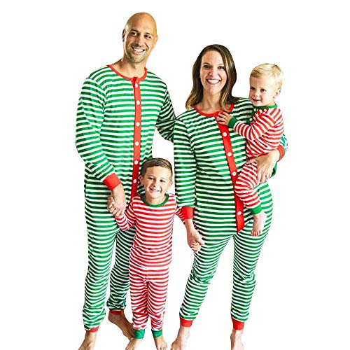 Weihnachten Schlafanzug Familien Outfit Mutter Vater Kind Baby Gestreift Overall Jumpsuit Casual Pajama Set Langarm Nachtwäsche Xmas Sleepwear von Innerternet