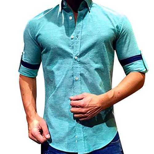 sunnymi  Herren Tops, Baggy Baumwolle Leinen Solide Langarm Taste Retro T Shirts Tops Bluse - Solide Tröster Set