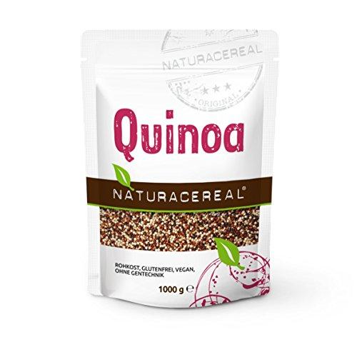 NATURACEREAL Quinoa, bunt (schwarz+weiß+rot), 1.000g (1x1kg) - Glutenfrei und eiweißreich, natürliche und pflanzliche Nahrungsergänzung.