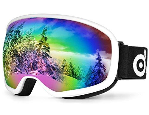 Skibrille, Odoland Snowboardbrille für die Jugendliche 8-16 Jahre - UV400 Schutz und Anti-Beschlage - Doppel Grau Sphärische Linse bei sonnigem und bewölktem Tagen (VLT 20% Große freie Aussicht Weiß)