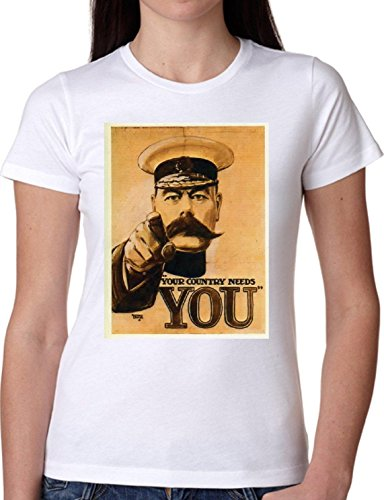 T SHIRT JODE GIRL GGG22 Z1208 COUNTRY NEEDS YOU MUSTACHE VINTAGE FUN FASHION COOL BIANCA - WHITE