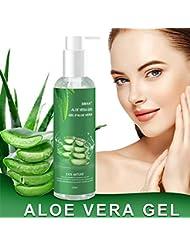Gel Aloe Vera Bio 100% - hydratant Visage & Corps Cheveux, Hydratant naturel, Riche en vitamines et minéraux - Idéal pour les peaux sèches et stressées et les coups de soleil, l'acné, Calmant Aprés Epilation, Soins du visage