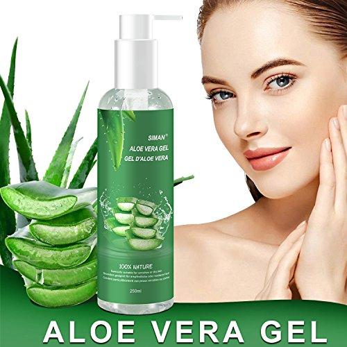 Aloe Vera Gesichts-gel (Aloe Vera Gel - 100% Bio für Gesicht, Haare und Körper - Natürliche, beruhigende und pflegende Feuchtigkeitscreme - Ideal für trockene, strapazierte Haut & Sonnenbrand - 250ml)
