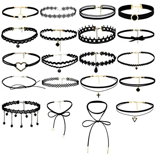 Kette Damen, HUIHUI 20pcs Damen elegant Stretch Velvet Klassische Gothic Tattoo Spitze Choker Pendant Halskette Kette amulett zum öffnen mit kette Halskette für Frauen Mädchen (A)