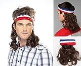 Vokuhila Kopfband mit Haaren braun Stirnband Perücke Hillbilly Headband