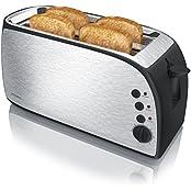 Arendo A301829x3, Arendo - Automatik Toaster Langschlitz | Defrost Funktion | wärmeisolierendes Gehäuse | abnehmbarer Brötchenaufsatz | 1200W-1500W | | 7 Stufen | herausziehbare Krümelschublade | Neues Modell 2017 - verbesserte Bräunungsstufen