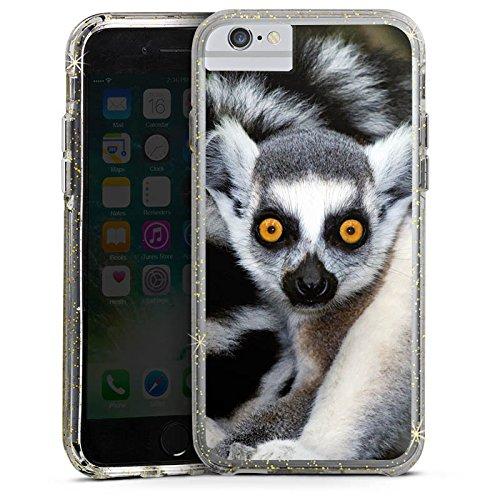 Apple iPhone 6 Plus Bumper Hülle Bumper Case Glitzer Hülle Lemur Affe Madagaskar Bumper Case Glitzer gold