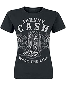 Johnny Cash Walk The Line Boots Camiseta Mujer Negro