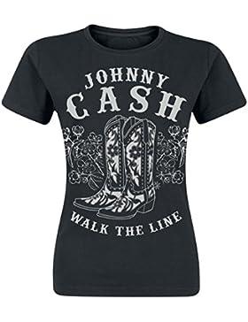 Johnny Cash Walk The Line Boots Camiseta Mujer Negro