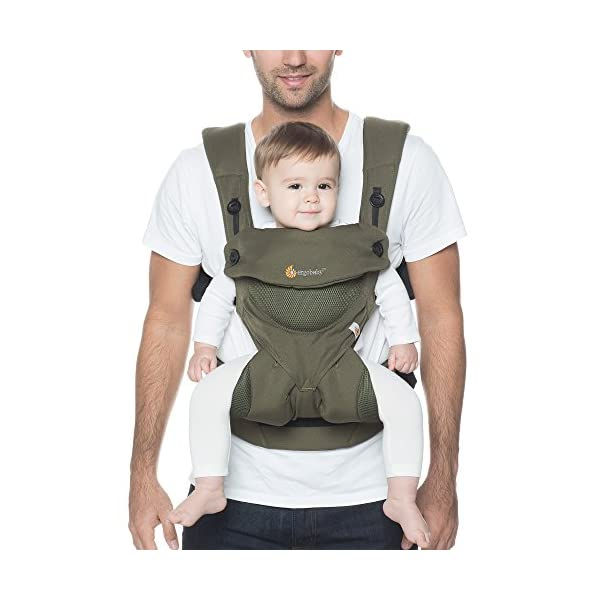 Ergobaby Baby Carrier up to 3 years (12-45 lbs) 360 Cool Air Khaki Green, 4 Ergonomic Carry Positions, Front Back Baby Carrier front facing, Backpack Ergobaby Ergonomic baby carrier for the summer, with 4 ergonomic carry positions: front-inward, back, hip, and front-outward. The carrier is suitable for babies and toddlers weighing 5.5-20 kg (12-45 lbs), and can be used as a back carrier. Also with insert for newborn babies weighing 3.2-5.5 kg (7-12 lbs), sold separately. NEW - The waistbelt with lumbar support can be worn a little higher or lower to support the lower back and provide optimal comfort, and has adjustable padded shoulder straps. The carrier is suitable for men and women. Maximum baby comfort - Breathable 3D air mesh material provides an optimal temperature for your baby on warm days. The structured bucket seat supports the correct frog-leg position for the baby. The carrier also has a neck support and privacy hood with 50+ UV sun protection. 5