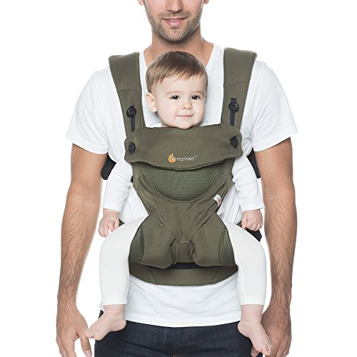 Ergobaby Babytrage Sommer Kleinkind bis 3 Jahre (5.5 bis 20 kg) Cool Air Khaki Green 360 atmungsaktiv / Ergonomische Baby Bauchtrage Rückentrage