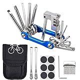 Oziral Kit Riparazione per Bici 11 in 1 Attrezzo Multifunzione da Bici con Kit di Patch e Leve del Pneumatico, Separatore Catena Universale, Kit di Attrezzi per Riparazione della Bicicletta