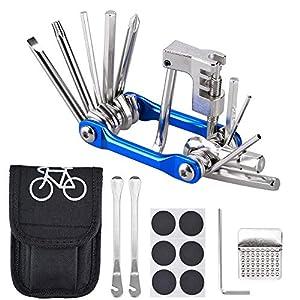 Oziral Kit Riparazione per Bici 11 in 1 Attrezzo Multifunzione da Bici con Kit di Patch e Leve del Pneumatico…