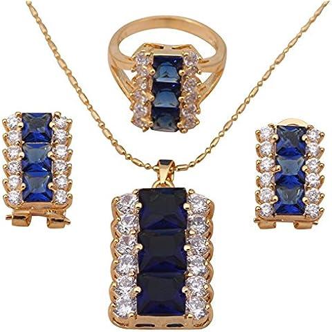 Bling fashion set di gioielli orecchini cristallo blu placcato oro giallo 18K collana anello misura 6,589fashion jewelry