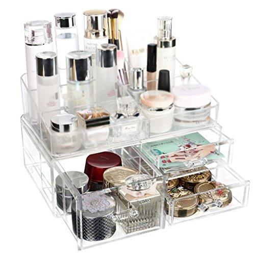 Étui cosmétique HWF Boîte de Rangement cosmétique Boîte à Bijoux Boîte de Maquillage Boîtier de Bureau Transparent Organisateur