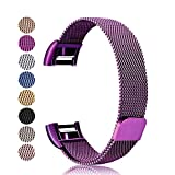 For Fitbit Charge 2 Strap Metal Bands, Mornex Milanese Stainless Steel Adjustable Replacement Accessory Straps with Unique Magnet Lock for Fitbit Charge 2 Fitness Wristband, Lavender