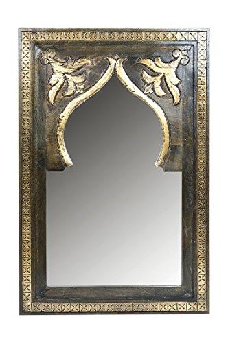 Orient Spiegel Wandspiegel Anugha 90cm groß Braun   Großer Marokkanischer Flurspiegel mit Holzrahmen Orientalisch Verziert   Orientalischer Vintage Badspiegel