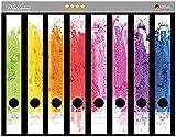 Wallario Ordnerrücken Sticker Regenbogenstreifen auf weißem Hintergrund - Bunter Anstrich in Premiumqualität - Größe 8 x 3,5 x 30 cm, passend für 8 Schmale Ordnerrücken