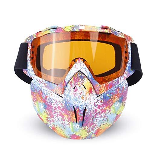 Bishilin Sportbrille Polarisiert Motorradbrille Retro Arbeitsbrille Schutzbrille Schutzbrille Taktisch Regenbogen Weiß