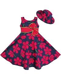 Mädchen Kleid 2 Pecs Sonnenhut Bogen Binden Blume Sommer Strand