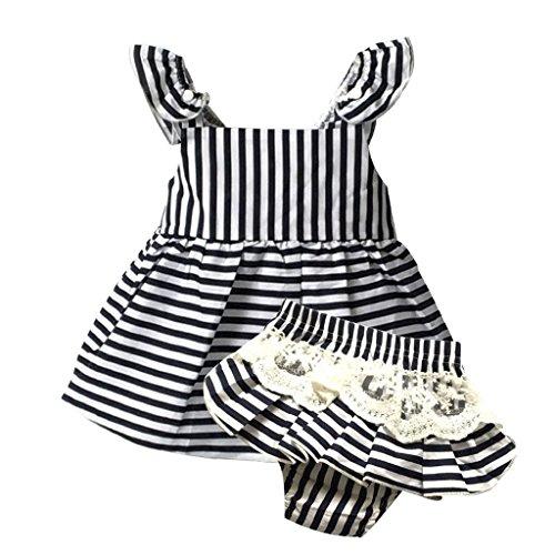 Baumwollband Kleinkind-Kleidkinder Der Partei Geburtstag Prinzessin Kleid - Blauen Streifen, 90