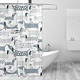 Bennigiry Dackel Hund Polyester Stoff Vorhang für die Dusche 152,4x 182,9cm, Mehltau Antibakteriell geruchlos Wasserdicht Badezimmer Deko Wanne Vorhang