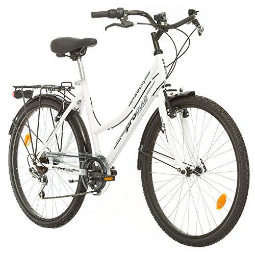 Probike 26 City ZOLL FAHRRAD 18-Gang urbane Cityräder For Heren, Damen, Unisex weiß 455mm (Damen-fahrräder, Cruiser 26 Zoll)
