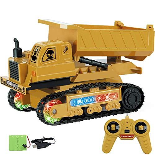 12shage Ferngesteuerter Bagger als Kettenbagger mit Greifarm Schaufelbagger Baustellenfahrzeuge ferngesteuert Spielzeug für Jungs (C)