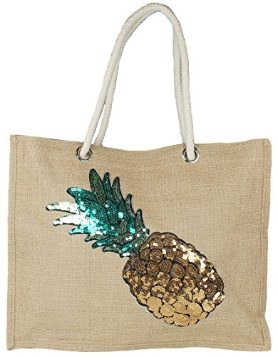 Mevina Damen Einkaufstasche aus Jute Strandtasche Handtasche Ananas Pailletten Patch Shopper Ananas A1358 (Pailletten-jute)