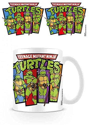 1art1 Set: Teenage Mutant Ninja Turtles, Group, Retro Foto-Tasse Kaffeetasse (9x8 cm) Inklusive 1x Überraschungs-Sticker