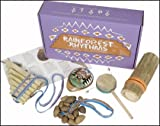 Rainforest Rhythms Handmade Musical Fair Trade South American Instruments Boxed Set. Includes Cha Cha, Ocarina, Monkey Drum, Rainstick and Pan Pipe