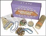 Mystery Mountain Rainforest Rhythms Ensemble d\'instruments de musique sud-américains faits main et issus du commerce équitable Chacha/ocarina/monkey drum/bâton de pluie/flûte de pan