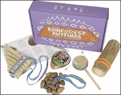 Handgefertigtes Fairtrade Regenwald Rhythmen Spieluhr südamerikanischen Instrumente Geschenkset - KOSTENLOSER VERSAND! Inklusive Cha Cha, Okarina, Affe Drum, Rainstick & Panflöte
